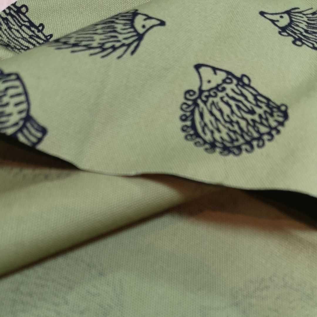 リサラーソン ハリネズミ 生地 カーキ レア 若草色 110×50 サイズ変更可 ネコポス発送