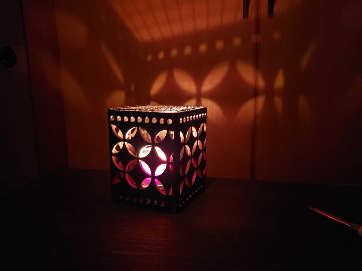 アイアンCUBE 角バーベキューコンロセット  ミニ焚き火台 ハンドメイド 頑丈 一生物  和柄(七宝つなぎ) 角15×高さ18cm
