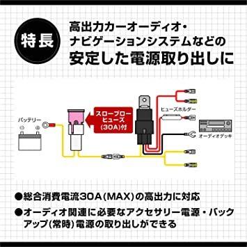 【Amazon.co.jp 限定】エーモン AODEA(オーディア) リレー付電源ケーブル 30A MAX 4968_画像2