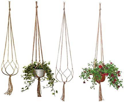 MITUKE 吊りスタンド麻縄 屋外屋内植物ハンガーマクラメ プラントハンガー 観葉植物 吊り下げ ロープ ハンギングプランター_画像1