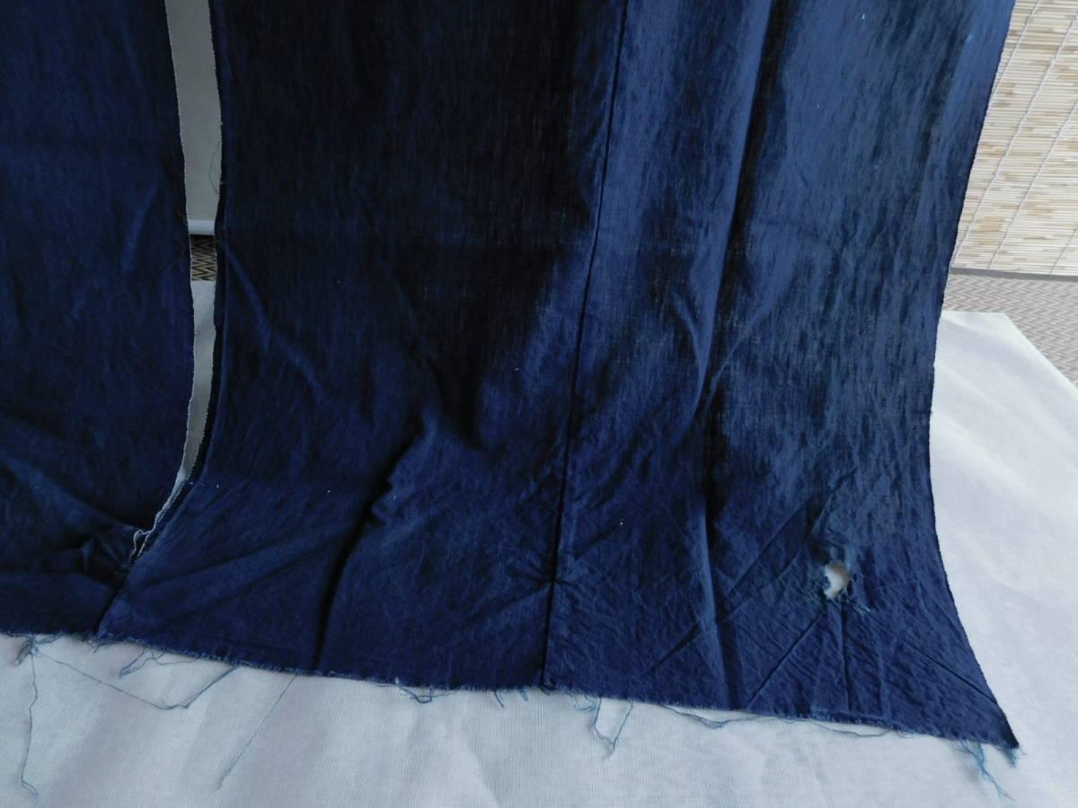 藍無地5巾 藍染木綿布団皮古布はぎれ襤褸ボロBOROインディゴ_画像4
