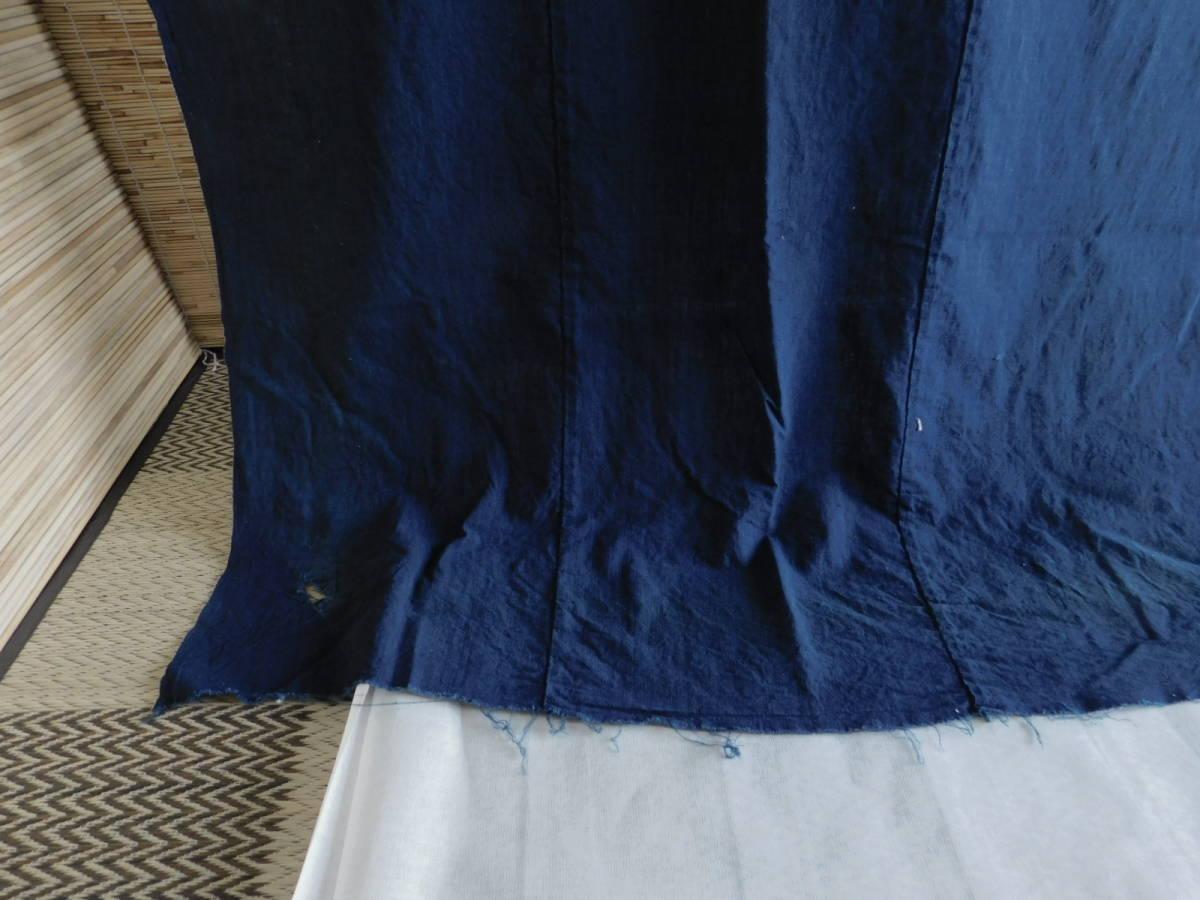 藍無地5巾 藍染木綿布団皮古布はぎれ襤褸ボロBOROインディゴ_画像5