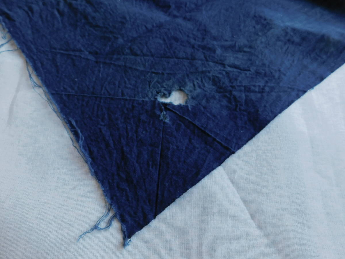藍無地5巾 藍染木綿布団皮古布はぎれ襤褸ボロBOROインディゴ_画像7
