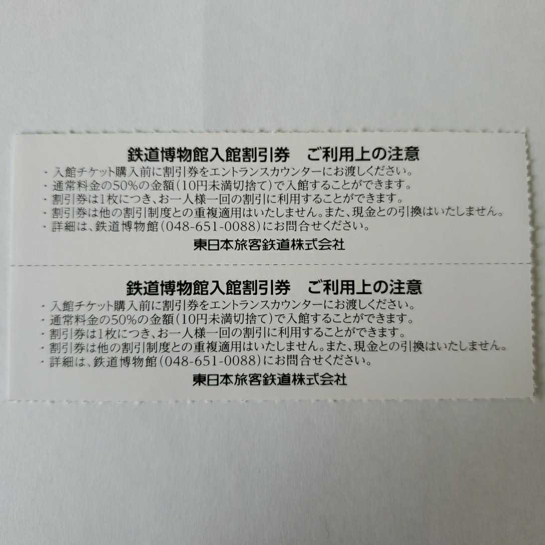 JR東日本株主サービス券 鉄道博物館入館割引券 2枚 _画像2