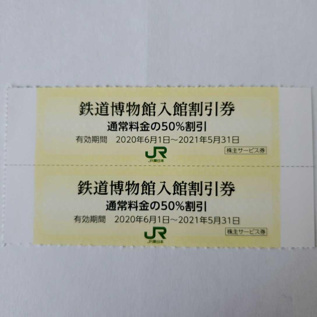JR東日本株主サービス券 鉄道博物館入館割引券 2枚 _画像1