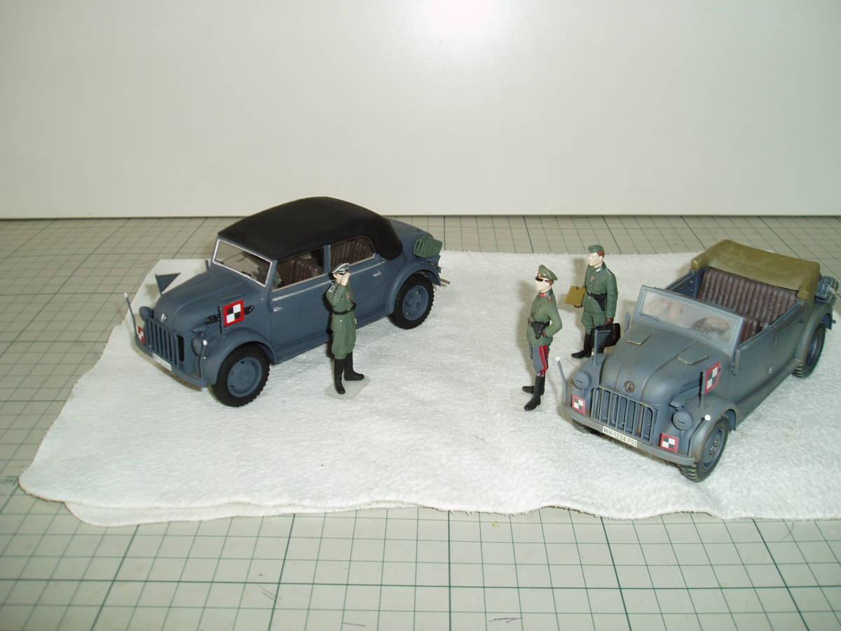 タミヤ 1/35 シュタイアー スタッフカー 2台 将校など3体 美品 完成品_画像2