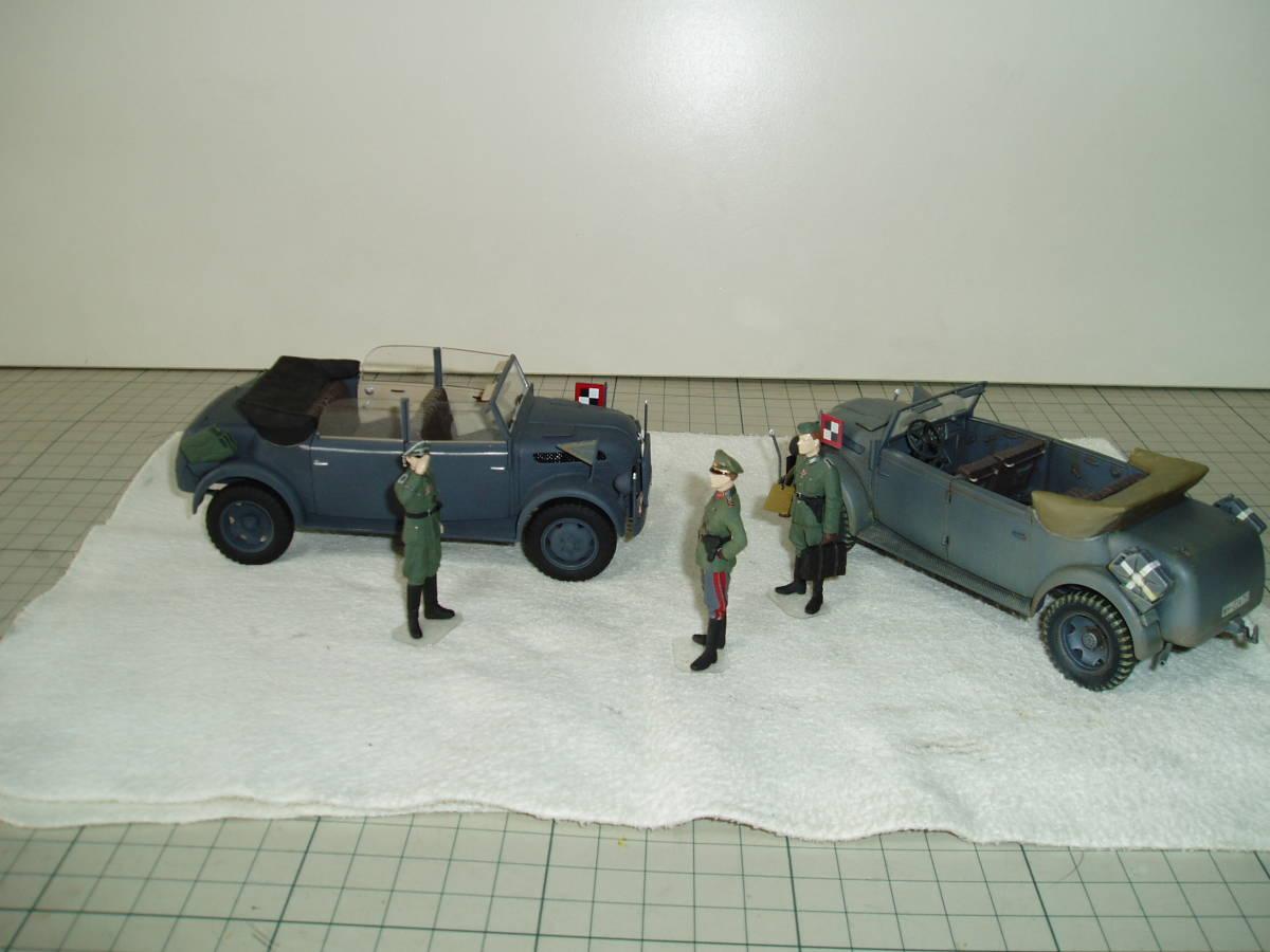 タミヤ 1/35 シュタイアー スタッフカー 2台 将校など3体 美品 完成品_画像4