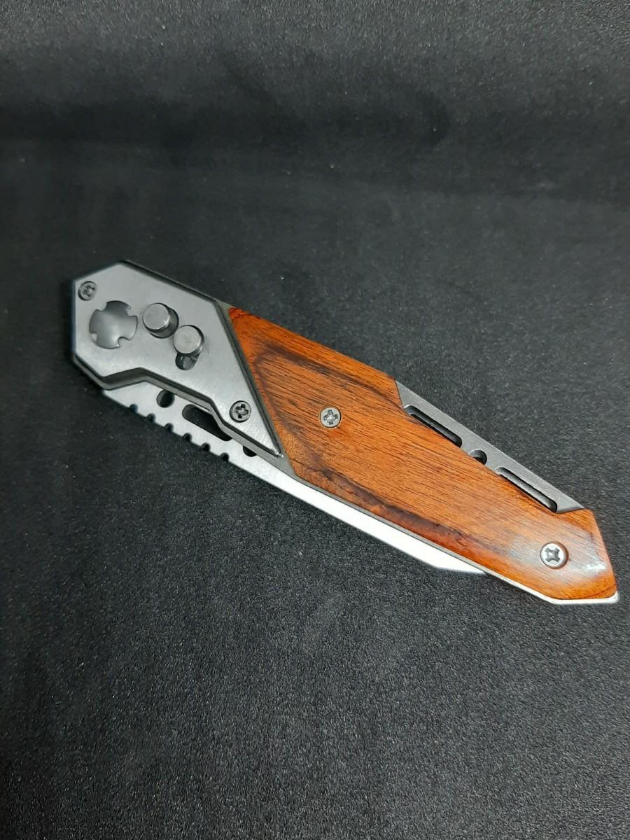 ナイフ ブレード折り畳み式 ケース付き!!57HRC キャンプ  フィッシングに!! フォールディングナイフ