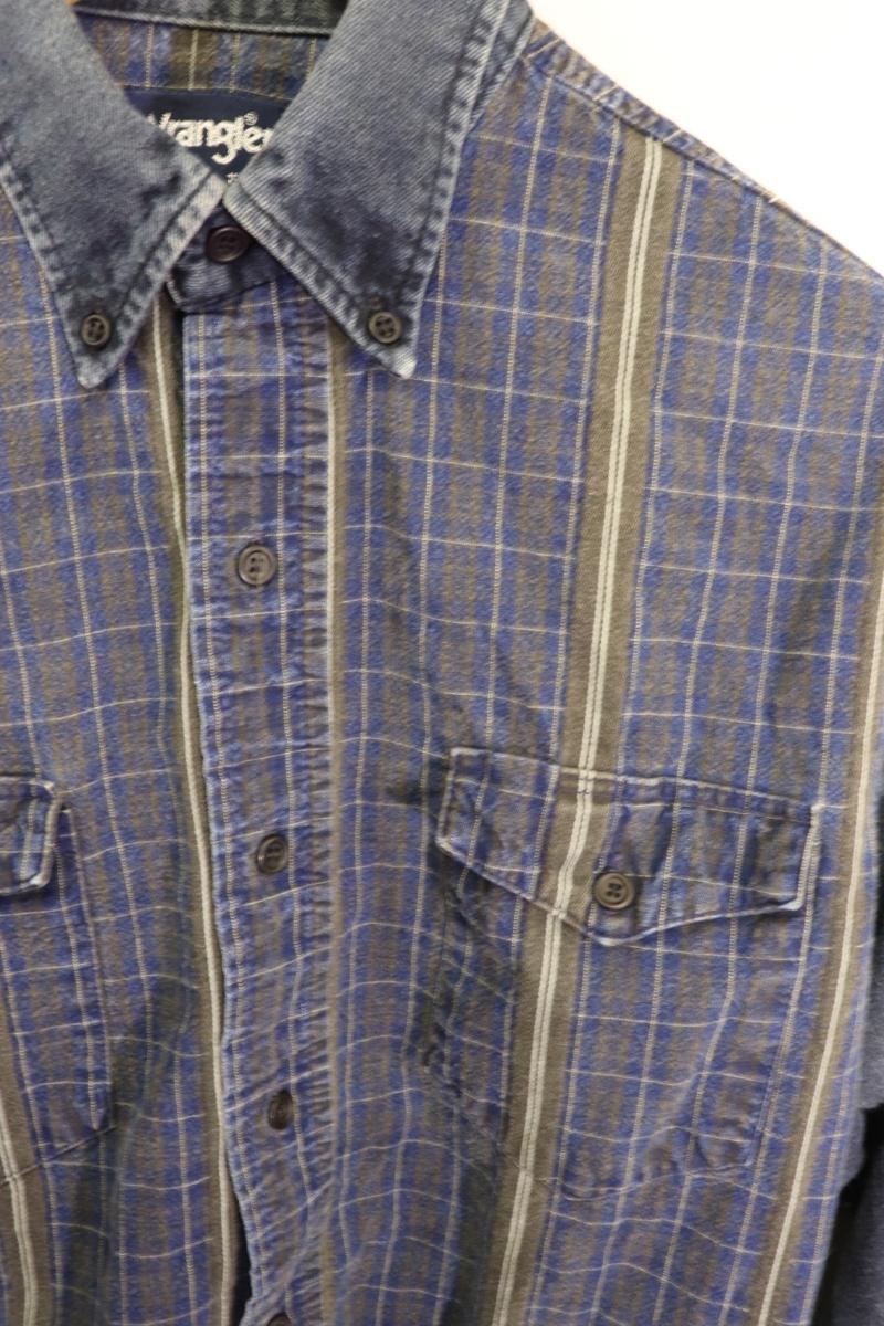 【メンズ】【良品保証返品OK】ラングラーデニム切り替え長袖シャツ/クレイジー希少デザイン♪15 1/2-34_画像7