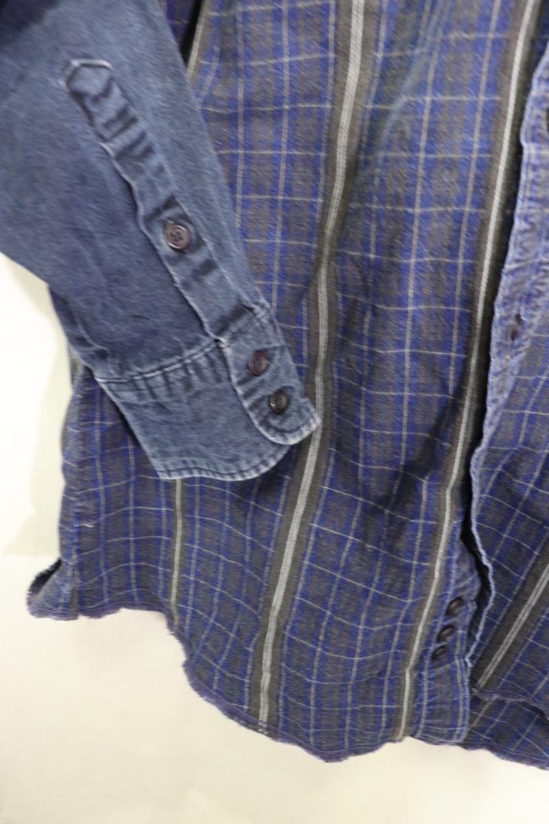 【メンズ】【良品保証返品OK】ラングラーデニム切り替え長袖シャツ/クレイジー希少デザイン♪15 1/2-34_画像4