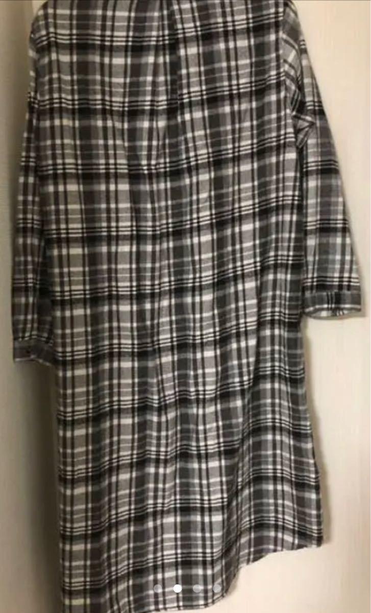 ロングシャツワンピース チェックシャツ グレー Lサイズ チェック柄