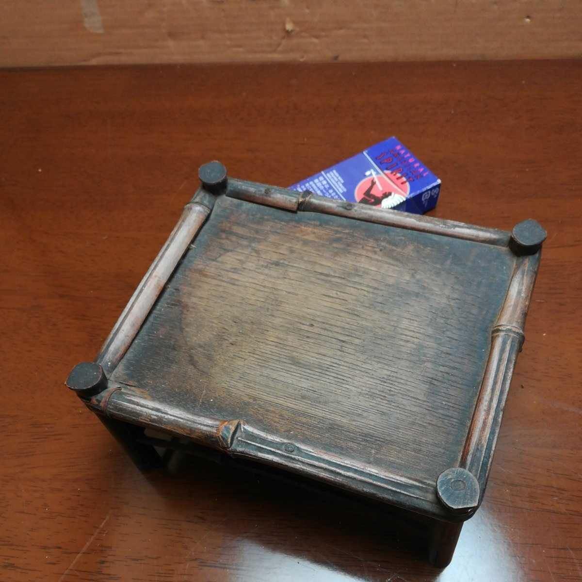 竹製花台 竹製長方飾台 長方花台 盆栽台 香炉台 華道具 茶道具 _画像10