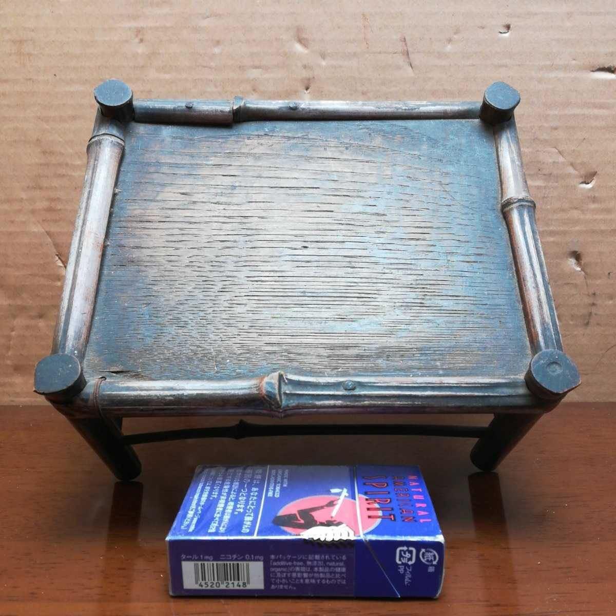 竹製花台 竹製長方飾台 長方花台 盆栽台 香炉台 華道具 茶道具 _画像2
