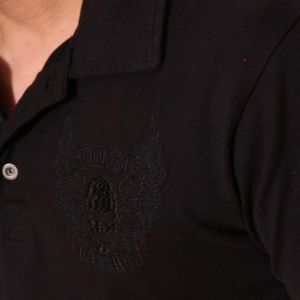 当店別注 バンソン VANSON 刺繍 半袖 ポロシャツ ブラックB(ブラック刺繍)【Mサイズ】NVPS-303 アメカジ バイカー ドクロ スカル_画像6