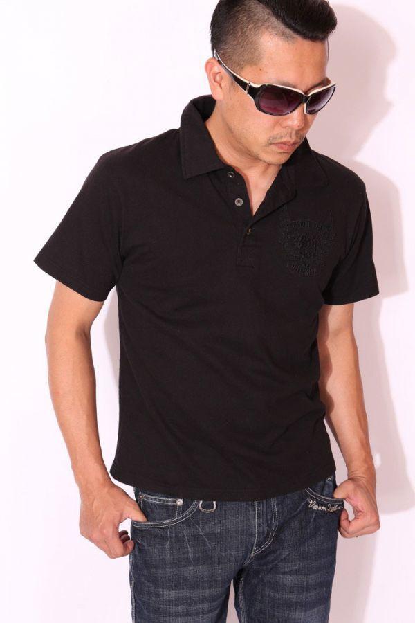 当店別注 バンソン VANSON 刺繍 半袖 ポロシャツ ブラックB(ブラック刺繍)【Mサイズ】NVPS-303 アメカジ バイカー ドクロ スカル_画像4