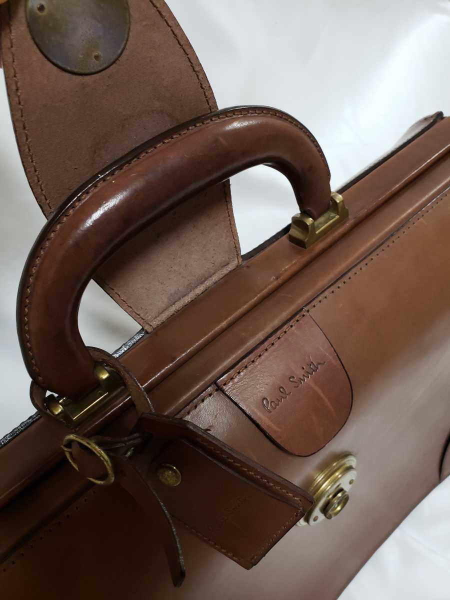 希少 Paul Smithポールスミス ダレスバッグ ビジネスバッグ 最高級レザー 本革 正規品 鍵付き 鞄 メンズ紳士 チャコール茶 ブリーフケース _画像6