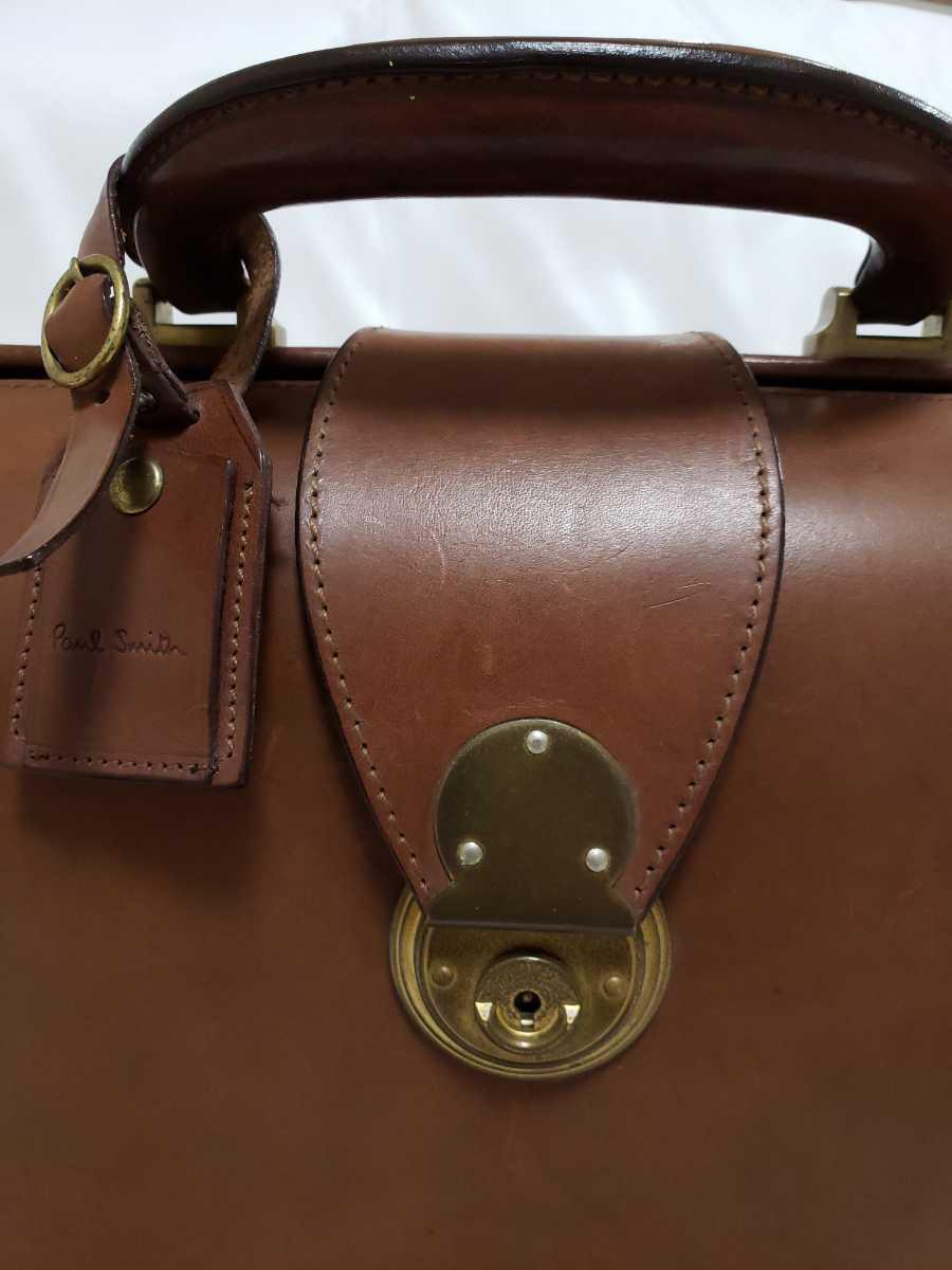 希少 Paul Smithポールスミス ダレスバッグ ビジネスバッグ 最高級レザー 本革 正規品 鍵付き 鞄 メンズ紳士 チャコール茶 ブリーフケース _画像4