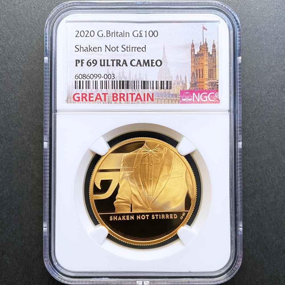 2020 英国 007 ジェームズ・ボンド 第3貨 100ポンド 金貨 1オンス プルーフ NGC PF 69 UC 準最高鑑定 完全未使用品 元箱付_画像1