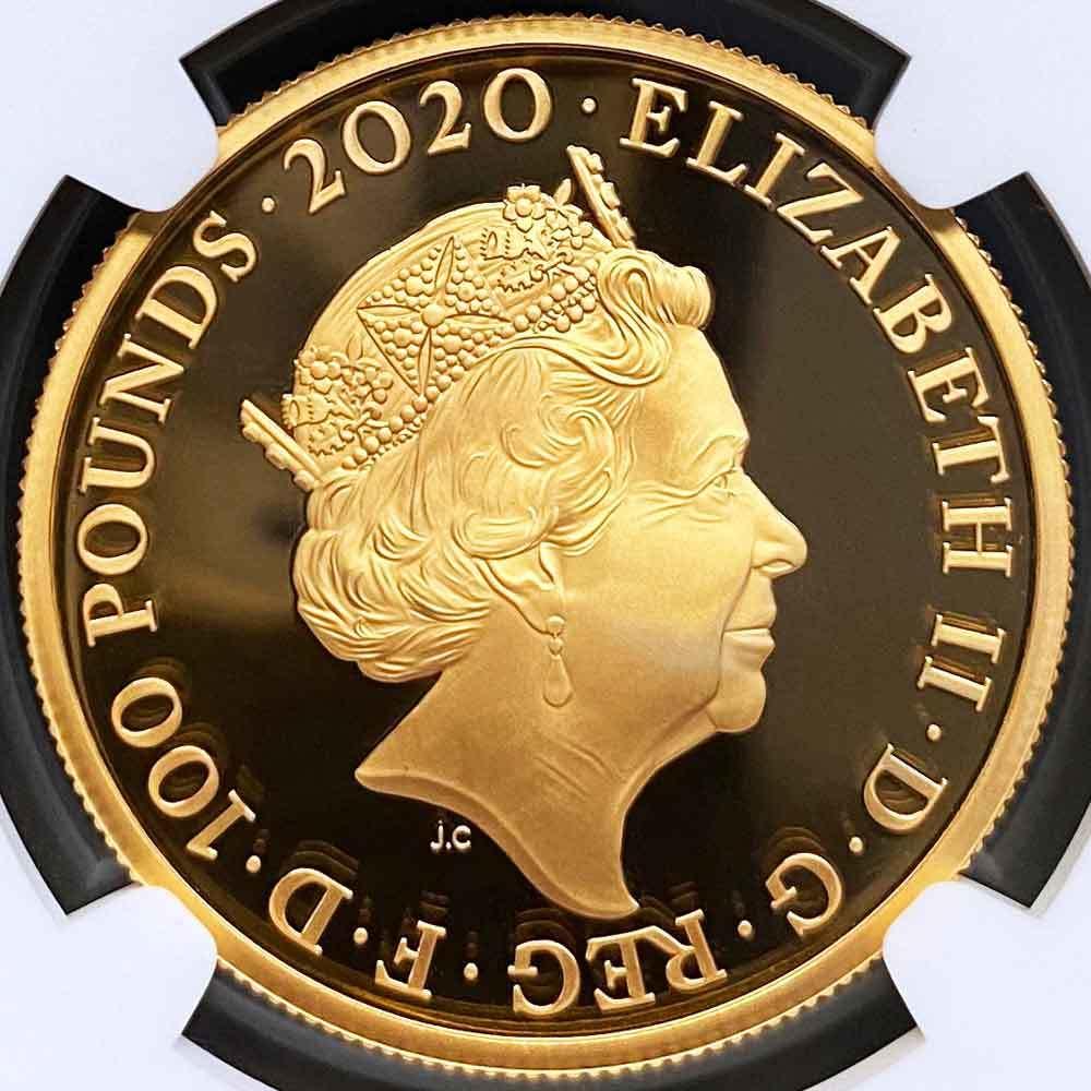 2020 英国 007 ジェームズ・ボンド 第3貨 100ポンド 金貨 1オンス プルーフ NGC PF 69 UC 準最高鑑定 完全未使用品 元箱付_画像4