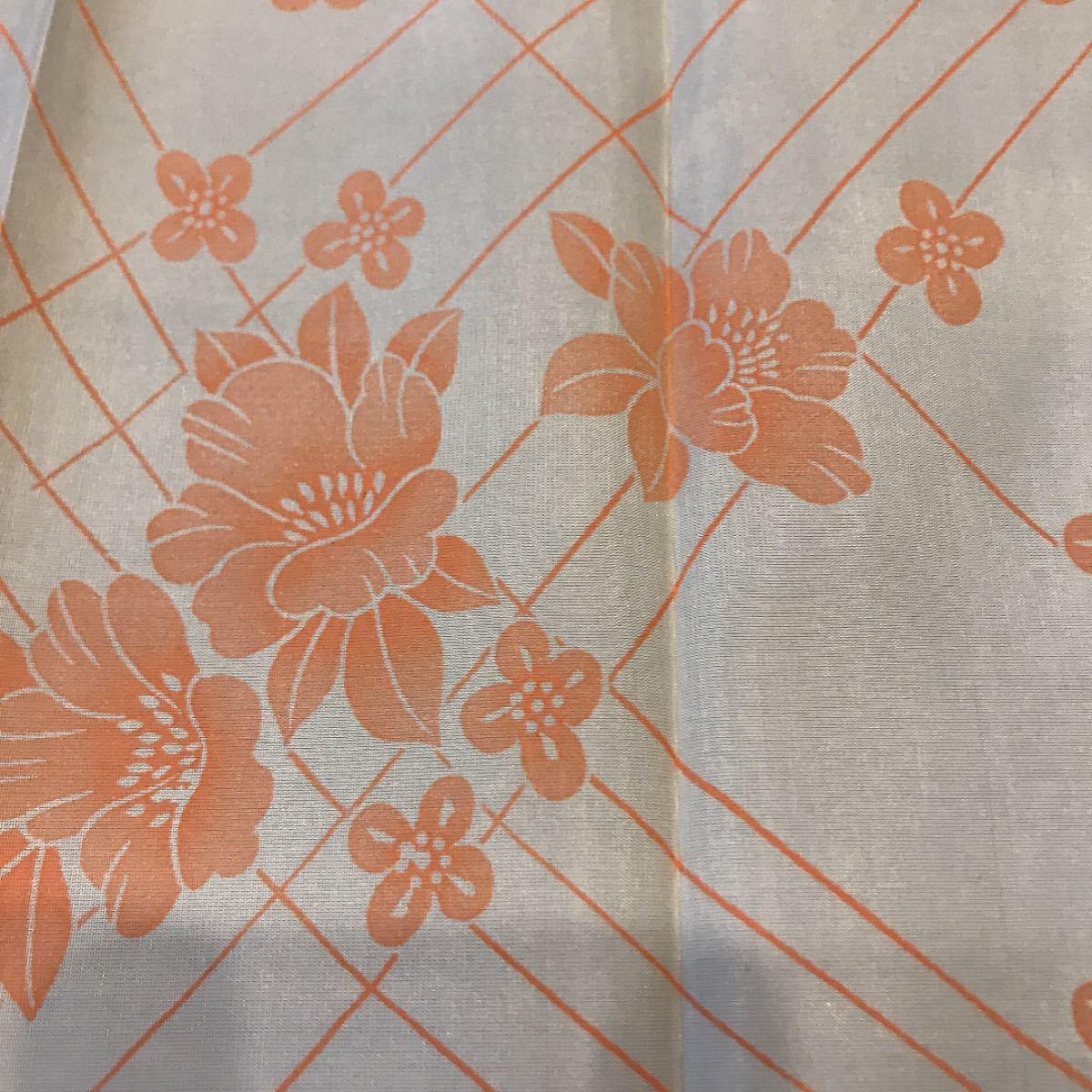22 布 生地 着物 ハギレ 手作り ハンドメイド 花 オレンジ
