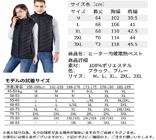 【超安】迷彩 ブラック サイズ選択 電気防寒ベスト10秒即暖 電熱ジャケット USB加熱 3段温度調節 お腹・背中に暖かい リンパ循環 男女兼用_画像3