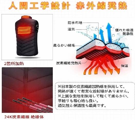 【超安】迷彩 ブラック サイズ選択 電気防寒ベスト10秒即暖 電熱ジャケット USB加熱 3段温度調節 お腹・背中に暖かい リンパ循環 男女兼用_画像5