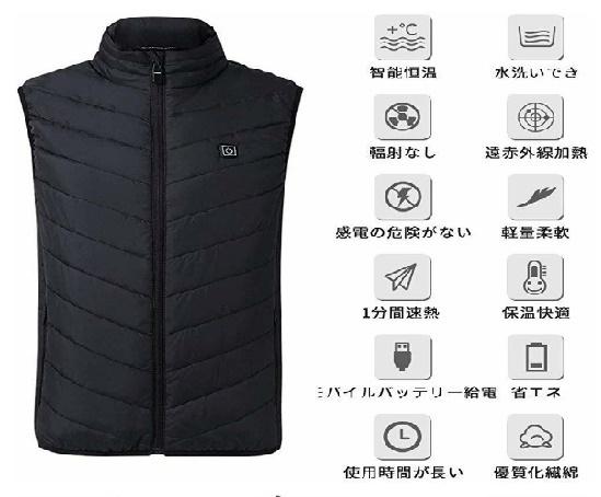 【超安】迷彩 ブラック サイズ選択 電気防寒ベスト10秒即暖 電熱ジャケット USB加熱 3段温度調節 お腹・背中に暖かい リンパ循環 男女兼用_画像9