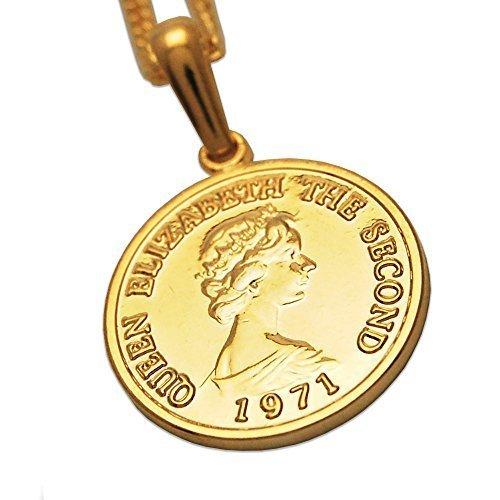 エリザベス コイン K18 ゴールド メッキ 喜平 チェーン アジャスター 付き ネックレス ペンダント日本製 コイン サイズ_画像1