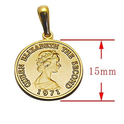 エリザベス コイン K18 ゴールド メッキ 喜平 チェーン アジャスター 付き ネックレス ペンダント日本製 コイン サイズ_画像4