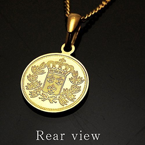 エリザベス コイン K18 ゴールド メッキ 喜平 チェーン アジャスター 付き ネックレス ペンダント日本製 コイン サイズ_画像3