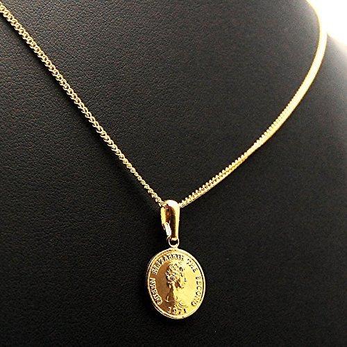 エリザベス コイン K18 ゴールド メッキ 喜平 チェーン アジャスター 付き ネックレス ペンダント日本製 コイン サイズ_画像2