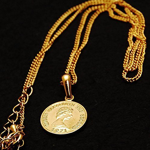 エリザベス コイン K18 ゴールド メッキ 喜平 チェーン アジャスター 付き ネックレス ペンダント日本製 コイン サイズ_画像6