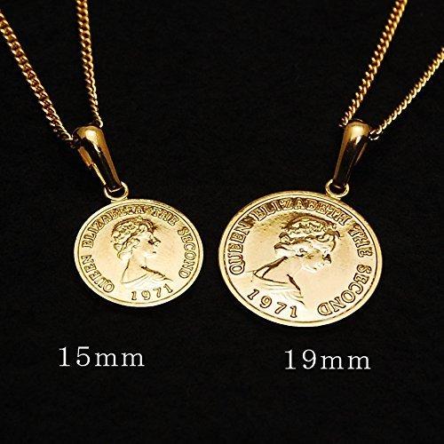 エリザベス コイン K18 ゴールド メッキ 喜平 チェーン アジャスター 付き ネックレス ペンダント日本製 コイン サイズ_画像7