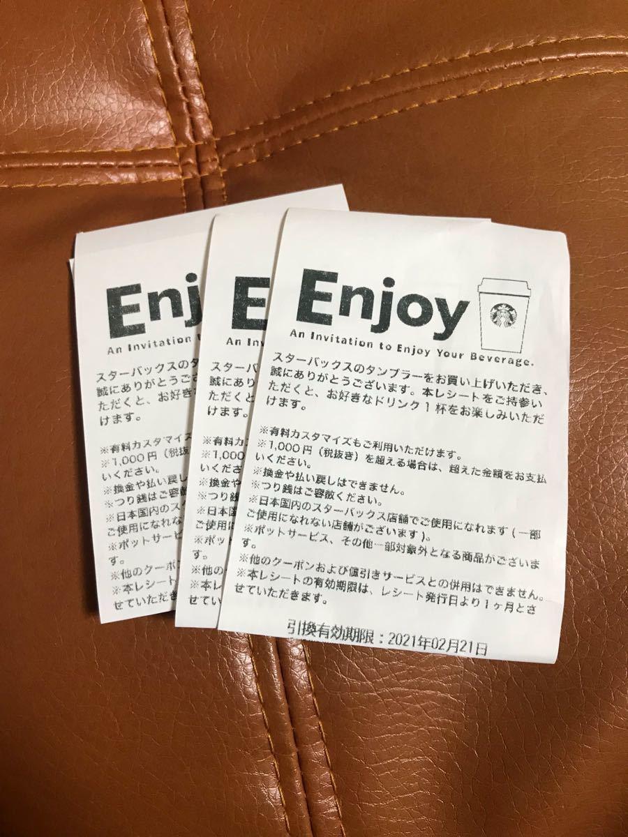 スタバ ドリンク券~1000円 3枚2月21日まで。 スターバックス スタバカード スターバックスカード