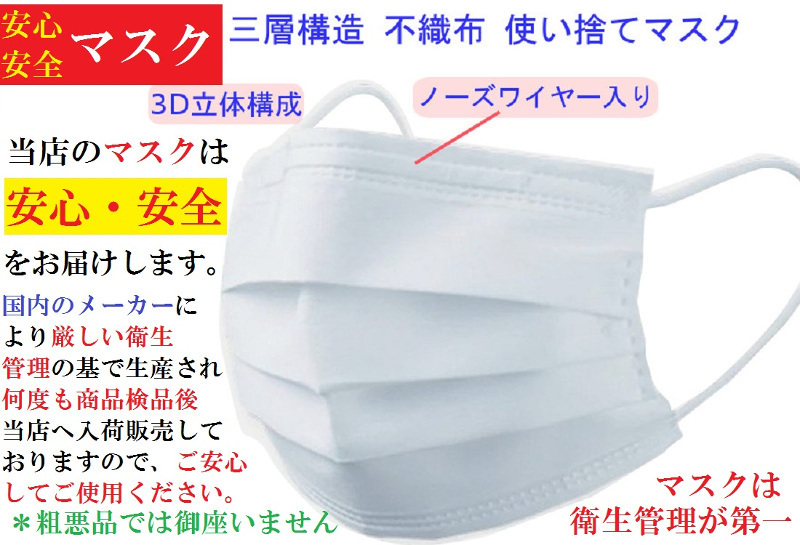 msk30C【送料無料】子供用 不織布使い捨て衛生マスク30枚・プリーツ 三層フィルター採用 ・ノーズワイヤー入り こども用サイズ ウィルス_画像2