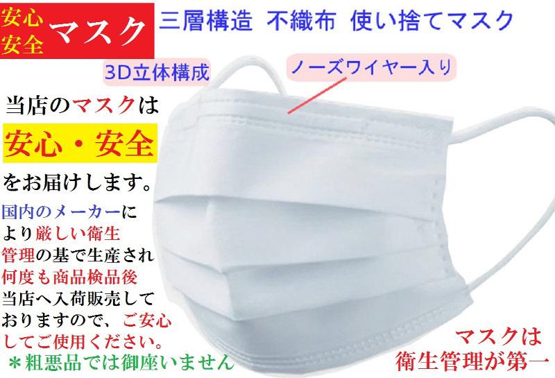 msk30A【送料無料】子供用 不織布使い捨て衛生マスク30枚・プリーツ 三層フィルター採用 ・ノーズワイヤー入り こども用サイズ ウィルス_画像2