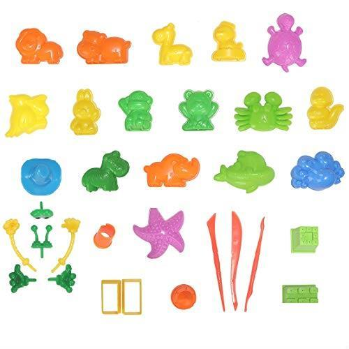 在庫限り 送料無料 砂遊びおもちゃ 砂場セット 砂セット 室内砂場 砂粘土おもちゃ 手を汚さない 22型抜き 付きサンドボックス (原色)_画像2