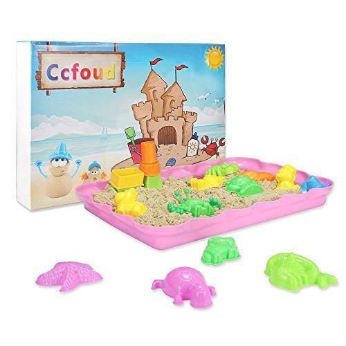在庫限り 送料無料 砂遊びおもちゃ 砂場セット 砂セット 室内砂場 砂粘土おもちゃ 手を汚さない 22型抜き 付きサンドボックス (原色)_画像1