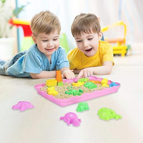 在庫限り 送料無料 砂遊びおもちゃ 砂場セット 砂セット 室内砂場 砂粘土おもちゃ 手を汚さない 22型抜き 付きサンドボックス (原色)_画像6