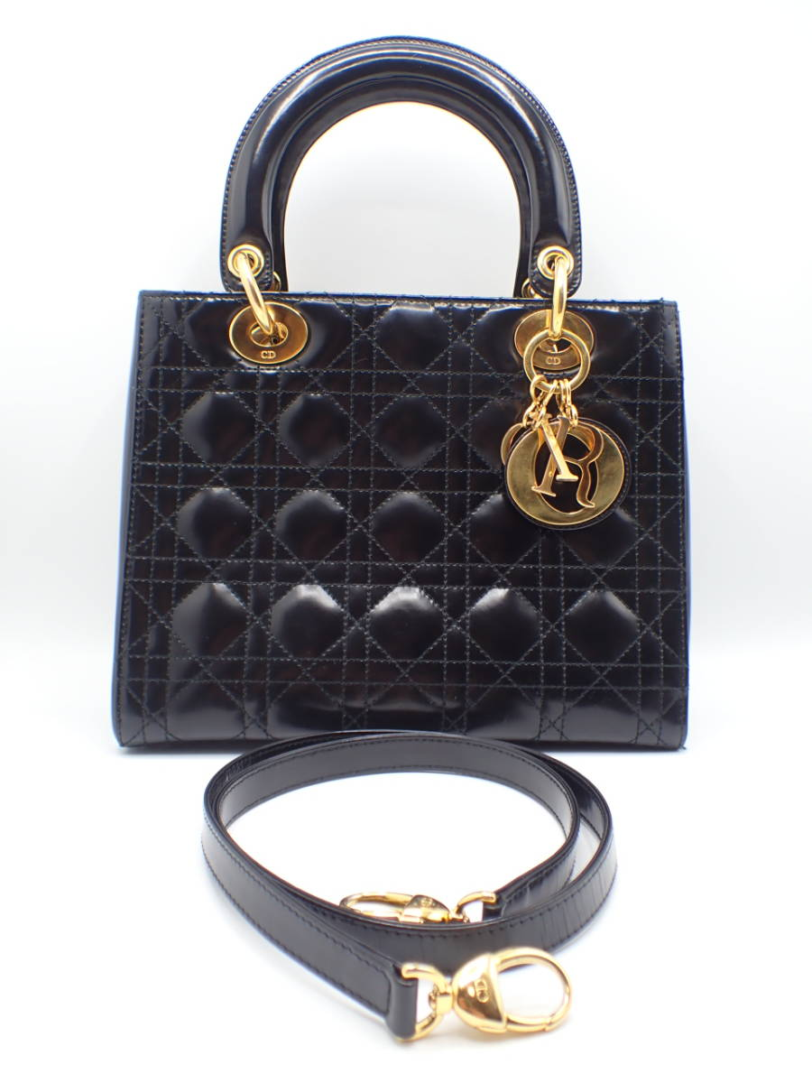1円 ■美品■ Christian Dior ディオール レディディオール カナージュ レザー 2WAY ハンドバッグ ショルダー 黒 ブラック系 1スタ