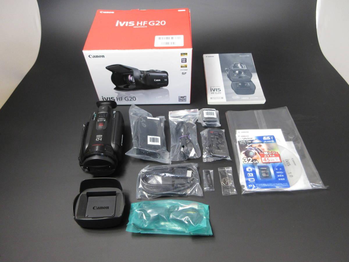 ★ビデオカメラ 新品同様 未使用 CANON キヤノン キャノン iVIS アイビス HF G20 VICTOR ビクター SDHC32GB カード付