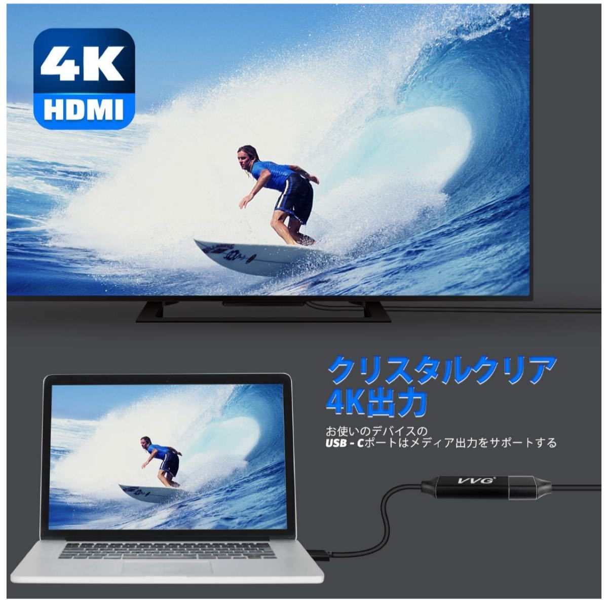 USB Type C to HDMI Adapter 変換ケーブルType-C(DP) to HDMIケーブル