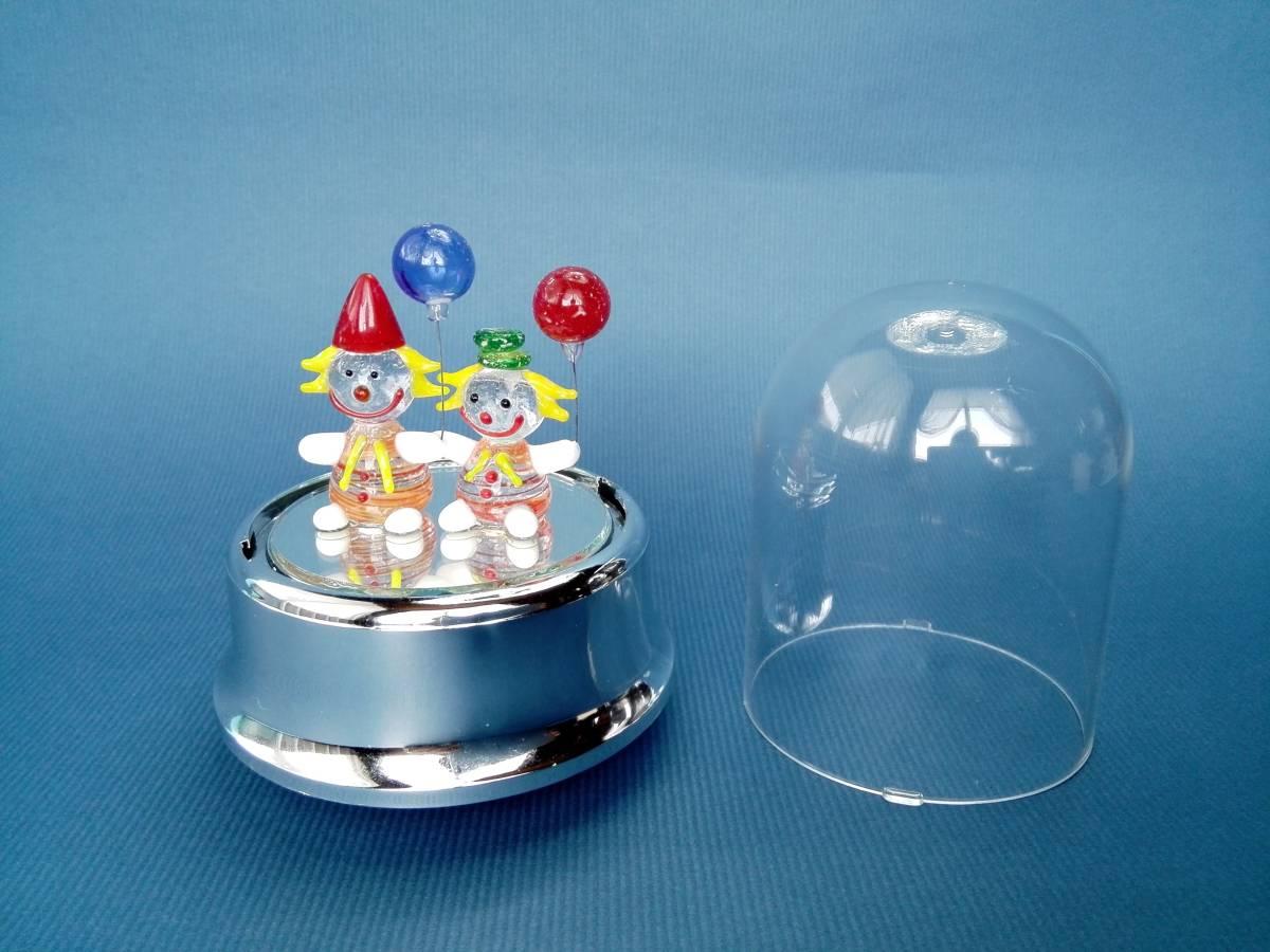 アンティーク ピエロ ガラス細工 オルゴール  アンチェインドメロディー 曲名ゴーストのテーマ_画像1