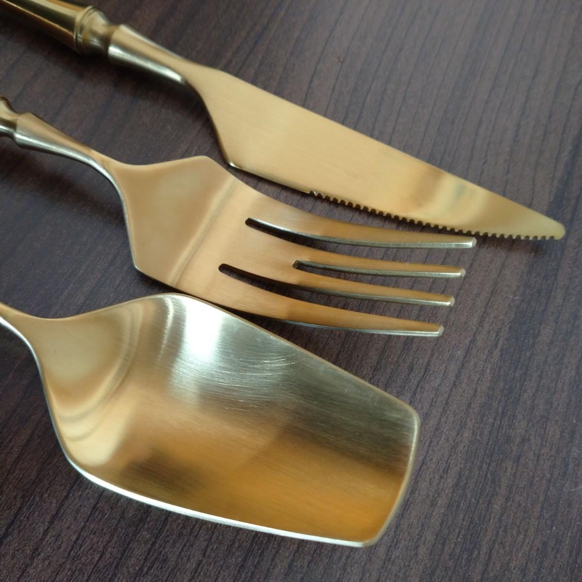 新品】マットゴールド カトラリー 5本セット フォーク スプーン ナイフ