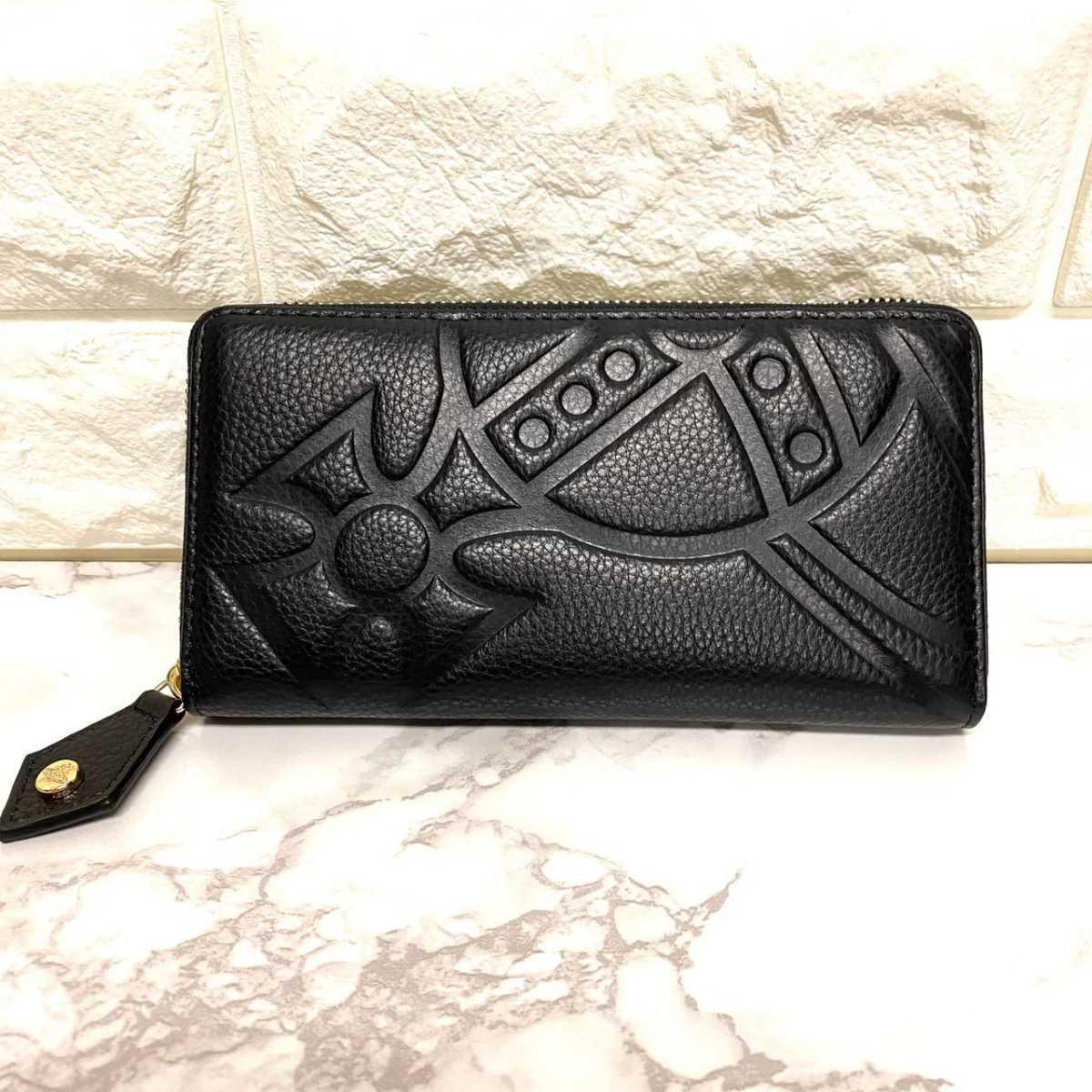Vivienne Westwood ヴィヴィアン・ウエストウッド 長財布 ラウンドファスナー 黒 ブラック レザー デカロゴ エンボス メンズ レディース