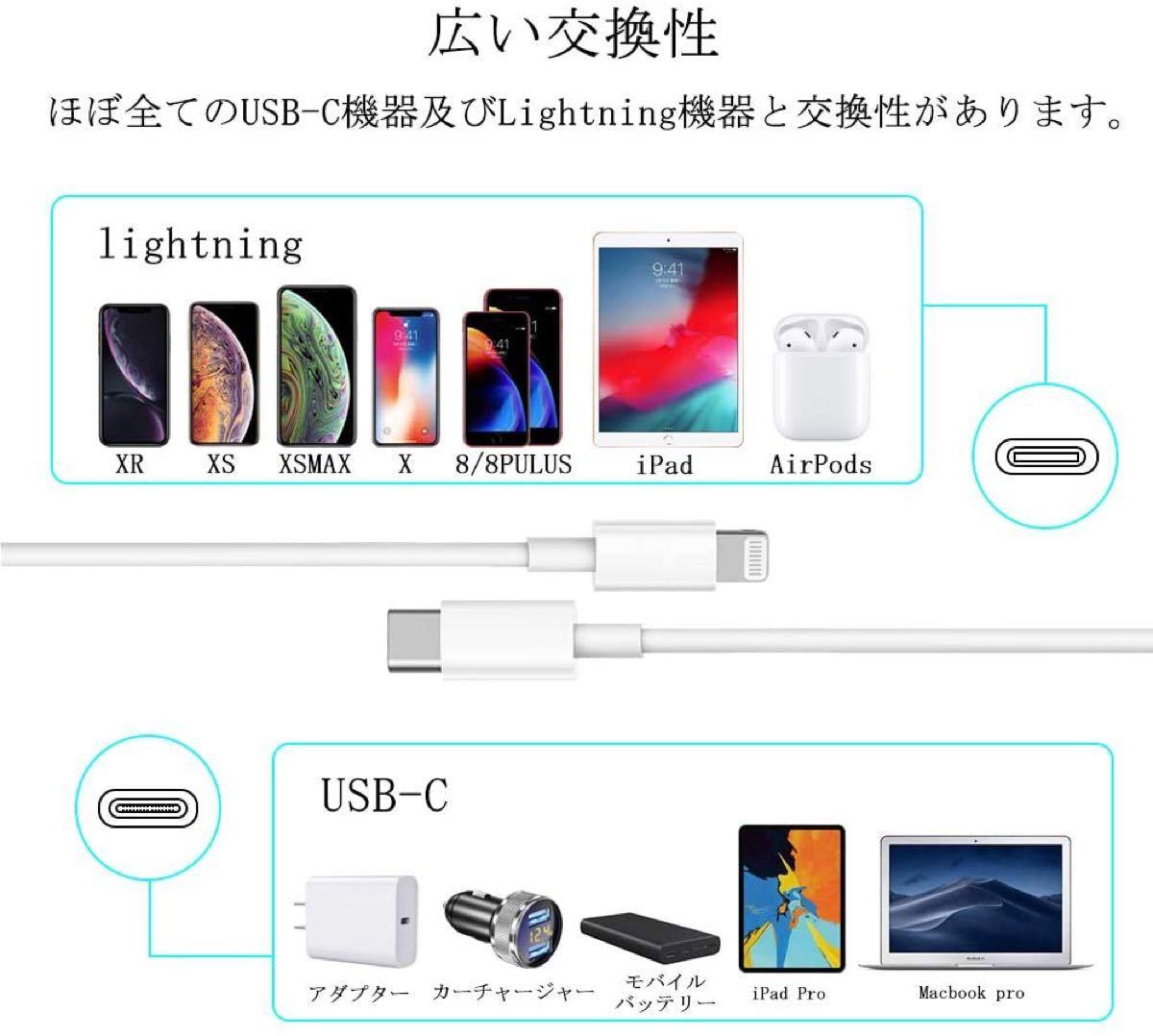2メートル 正規品 USB type-c to Lightning 充電ケーブル 純正品質 PD対応 ライトニング