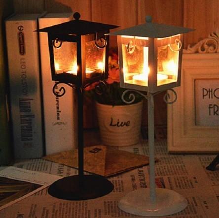 鉄 ガラス キャンドル ホルダー クラシック ブラック ホワイト ティー ライトスタンド ホーム テーブル ランタン 装飾_画像1