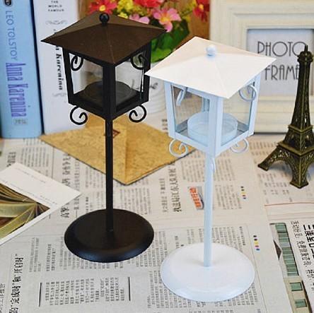 鉄 ガラス キャンドル ホルダー クラシック ブラック ホワイト ティー ライトスタンド ホーム テーブル ランタン 装飾_画像2