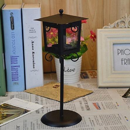 鉄 ガラス キャンドル ホルダー クラシック ブラック ホワイト ティー ライトスタンド ホーム テーブル ランタン 装飾_画像3