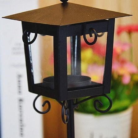 鉄 ガラス キャンドル ホルダー クラシック ブラック ホワイト ティー ライトスタンド ホーム テーブル ランタン 装飾_画像6